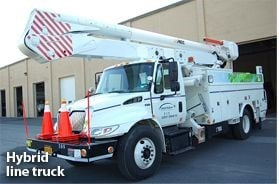 Photo of a hybrid line truck courtesy of Central Hudson Gas & Electric