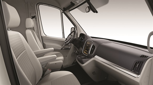 The interior is as nice as you'd expect from a cargo van: nothing fancy, but comfortable and functional.