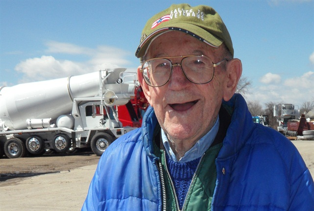 Clarence Jungwirth will be 95 in October, and has worked at Oshkosh Truck since 1945.