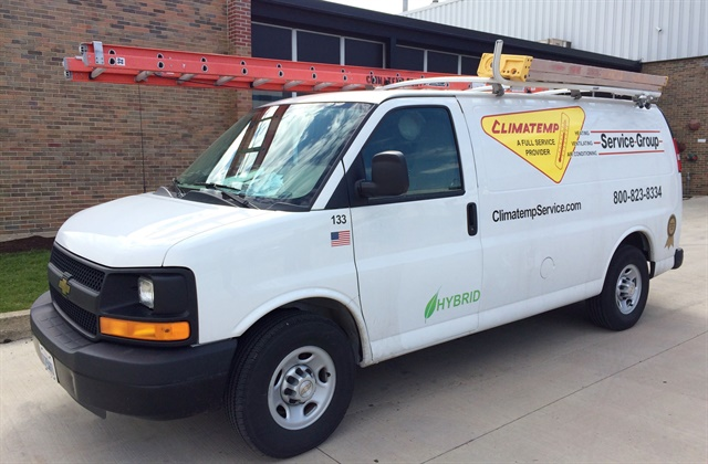 Climatemp Service Group has converted four of its Chevrolet Express service vans to the XL3 Hybrid Electric Drive System. Photo courtesy of Climatemp.