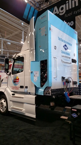 New CNG system from Agility houses four 40-diesel-gallon-equivalent cylinders in a cabinet behind this Volvo VN's cab. Total capacity is 160 DGE, enough for up to 600 road miles, the supplier says. Stated weight is 2,150 pounds.