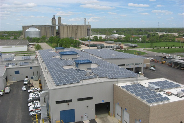 The City of Columbus, Ohio, fleet facility had 2,650 solar panels put on its roof. Using energy from the collected solar power, the fleet division reduced its energy costs by 60% in June compared to the prior year.