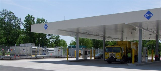 Project use and need before constructing a CNG fuel station in order to size correctly. Pictured is the City of Columbus, Ohio, CNG fueling station, a project in which Adams served as consultant. Photo courtesy of Marathon Corporation.