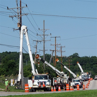 Trends in transmission tower heights could affect your decision when purchasing a bucket truck. Photo courtesy of Terex Utilities.