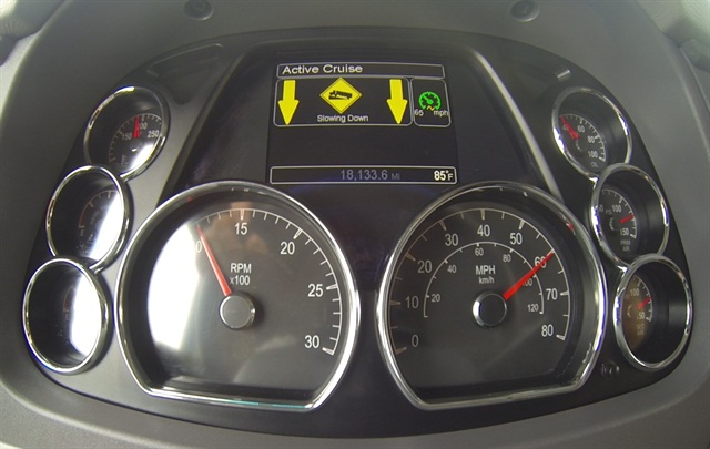 The Advanced Cruise Control display tells the driver what the system is doing. A similar display may not be used in production versions.