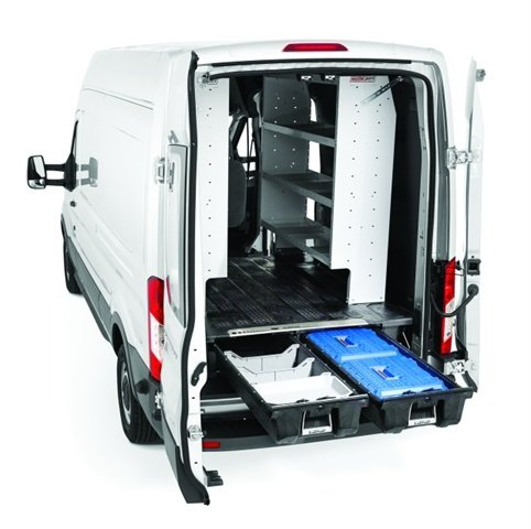 Compatible with vertical van racking systems, the DECKED van cargo storage system helps drivers stay organized while on the road. (Photo: DECKED)