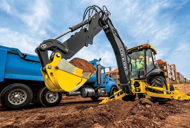 John Deere L-Series backhoes now offer precision mode, enhanced pilot controllers, two new rear quick coupler offerings, and a redesigned hydraulic thumb. Pictured is the 410L. Photo courtesy of John Deere.