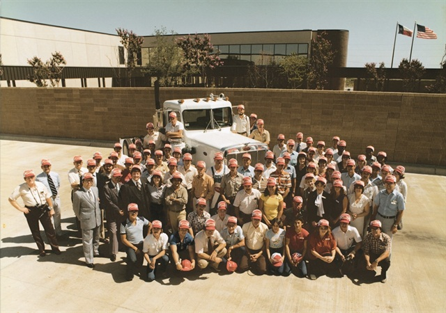 Denton's original employees with the first truck produced at the facility. Photo: Peterbilt