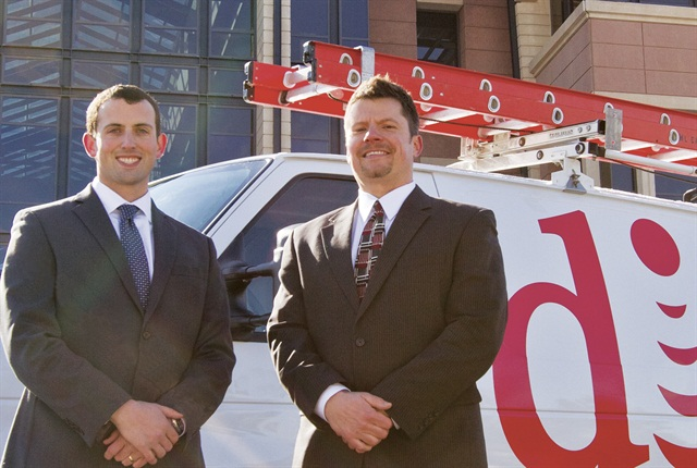 Brian Nickelson, director of operations – finance (left), and Abe Stephenson, fleet and administration manager, lead the DISH Network fleet from corporate headquarters in Meridian, Colo.