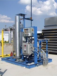 Pictured is a single tower dryer with on-skid regeneration, part of a CNG fuel station. Dryers reduce the moisture content of the gas. Photo courtesy of Marathon Corporation.
