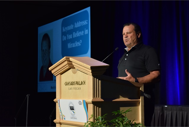 "Mike Eruzione, the captain of the ""Miracle on Ice"" Olympic Gold Medal Hockey Team, during his keynote presentation."