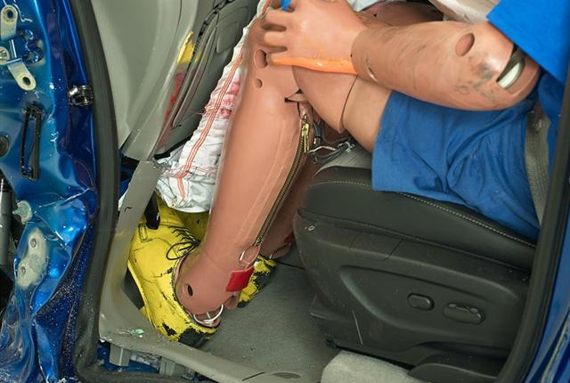 <p><strong><em>In the small overlap front crash test, the driver's space was maintained reasonably well, and risk of injuries to the dummy's legs and feet was low, IIHS said. Photo courtesy of IIHS.</em></strong></p>