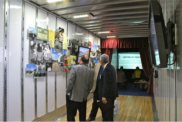 The Legacy Museum trailer features interactive screens, historical photographs, rare memorabilia and a 25-minute documentary film. Photo: Evan Lockridge