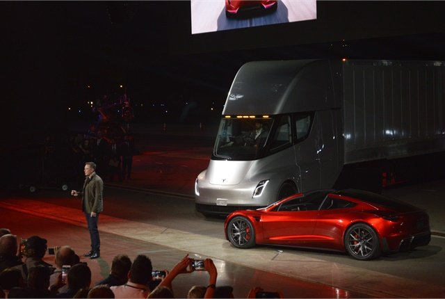 A Tesla Semi truck was spotted taking a test drive on public roads in California earlier this week. Photo: Jack Roberts