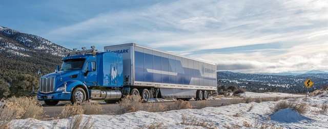 Prototype autonomous truck in Nevada desert. Photo: Embark