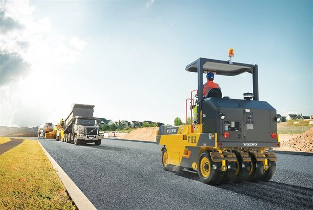 The Volvo PT125C tire roller's two-speed hydrostatic transmission permits smooth directional changes between forward and reverse. Photo courtesy of Volvo Construction Equipment