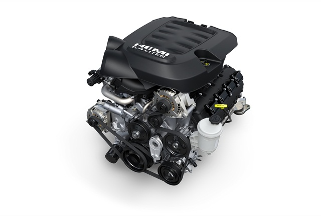 <p>Bigger Hemi V-8 offers high power and torque for customers who carry or tow heavy loads but want gasoline power.</p>