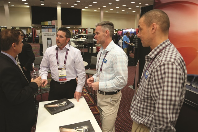 The 2017 ICRS featured seven hours of exhibit hall interaction. Here, the team from U-Save Car & Truck Rental confers with a visitor to the company's booth.