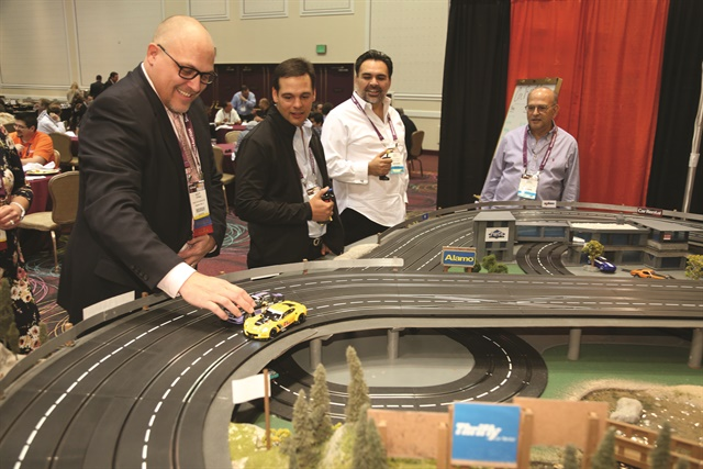 In the exhibit hall, PurCo Fleet Services' booth featured a fun zone with remote-controlled car races. A winner was announced each hour.