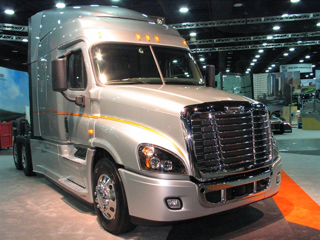 Freightliner's Cascadia Evolution on display during this year's Mid-America Trucking Show. Photo: Evan Lockridge
