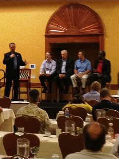 On Sept. 6, Claude Masters, CAFM, NAFA president, moderated a question-and-answer session with management representatives from Chrysler, Ford, GM, and Toyota. Photo courtesy of FLAGFA.