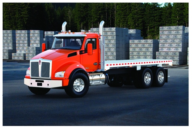 The all-new Kenworth T880 is designed for use by a range of vocational fleets in a variety of configurations, such as this flatbed.