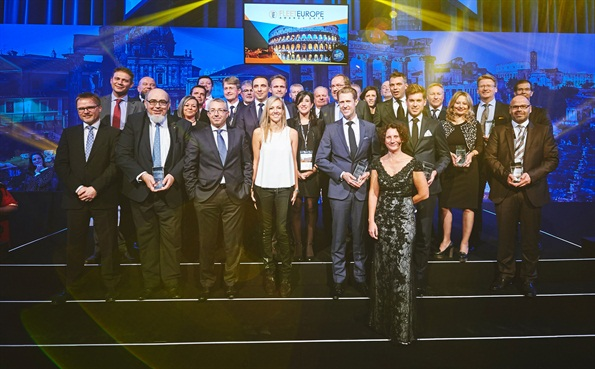 Winners of the Fleet Europe Awards gather on stage at the conclusion of the ceremony. Photos: Fleet Europe
