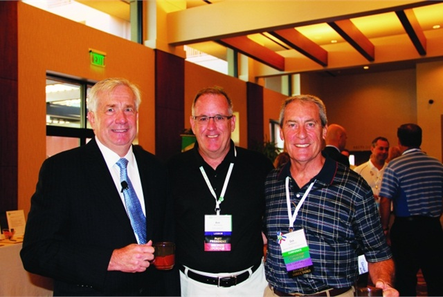 During the AFLA Conference, Malcom (far right) took a moment to catch up with AFLA President John Domchowsky of Mondelez (far left) and AFLA Past President Mark Conroy of Union Leasing.