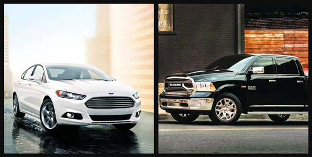The Ford Fusion (left) was named the 2015 Fleet Car of the Year while the Ram 1500 won the award for 2015 Fleet Truck of the Year. Photos courtesy of Ford and FCA (left to right).