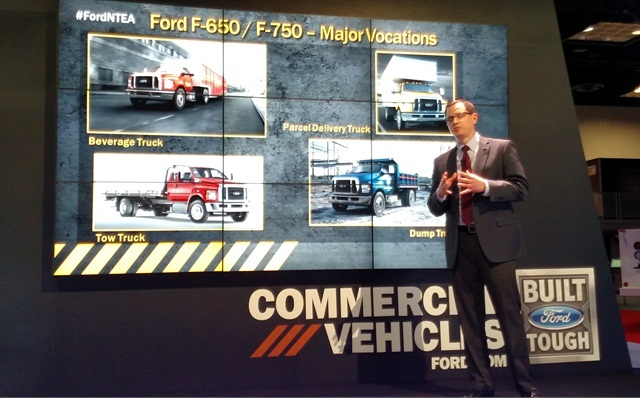 Ford's John Davis says upcoming F-650/750 will suit many applications, and powertrains were tested for heavy service.Photo by Tom Berg