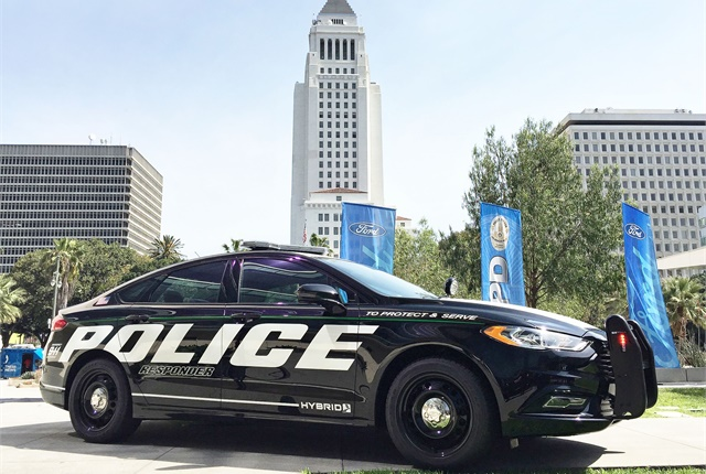 Ford revealed the Police Responder Hybrid Sedan at Los Angeles Police Department headquarters in downtown Los Angeles on April 10. Photo: Thi Dao