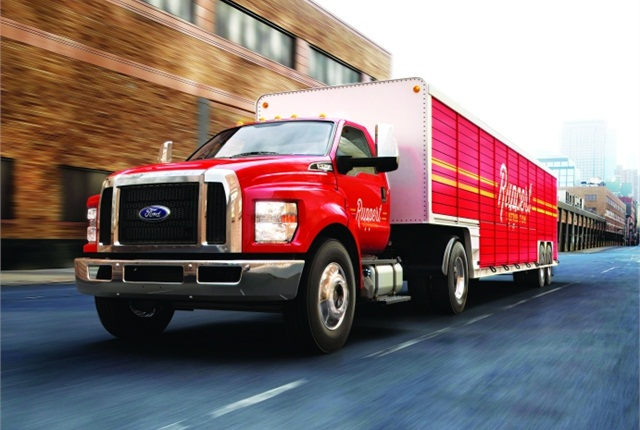 Among the improvements that Ford made to the MY-2016 F-650/F-750 is a clean cab-to-axle to better position the gasoline and DEF tanks. (PHOTO: FORD MOTOR CO.)