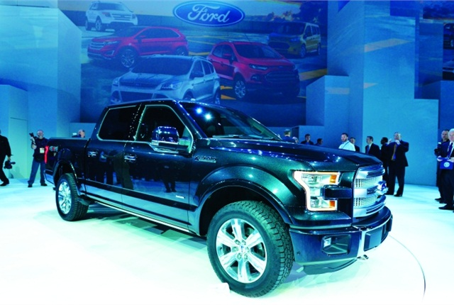 Ford introduced the 2015 Ford F-150 at the Detroit Auto Show, noting that it will utilize an all-new, high-strength, military-grade, aluminum alloy body and will weigh 700-pounds less than previous models.