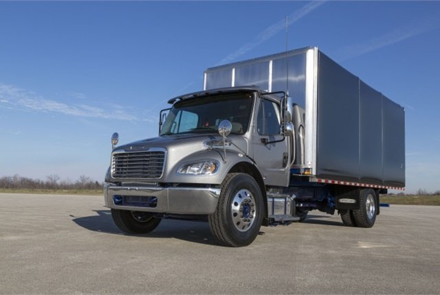 New Freightliner M2 features include custom LED headlights, air disc brakes, and Detroit Virtual Technician Telematics. (Photo courtesy of Freightliner)