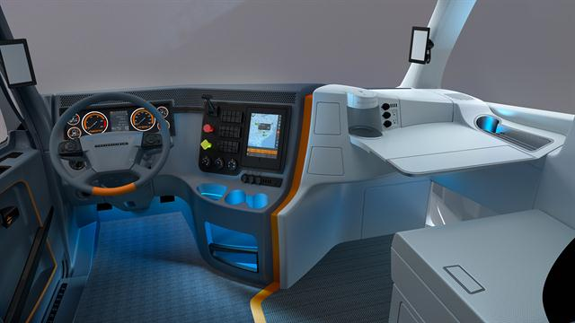 Freightliner's Revolution concept truck also took on the design of the inside of the truck.
