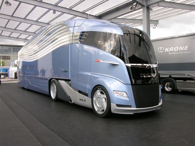 "This ""aerodynamically optimized road train"" concept truck from MAN and Krone, both prominent vehicle builders in Europe, was showcased at the 2012 IAA commercial truck show in Hanover, Germany. The builders said it could save 25% in fuel and carbon dioxide emissions. Photo: Jim Park"