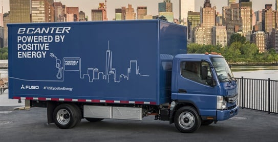 Mitsubishi Fuso offers the all-new eCanter all-electric Class 4 medium-duty truck that offers a 15,995-pound GVWR. The truck features multiple battery configurations. (Photo: Mitsubishi Fuso)