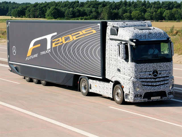 Daimler Trucks' Future Truck 2025, disguised in black and white adhesive foil, obscuring the exterior contours.(PHOTO: Daimler Trucks)