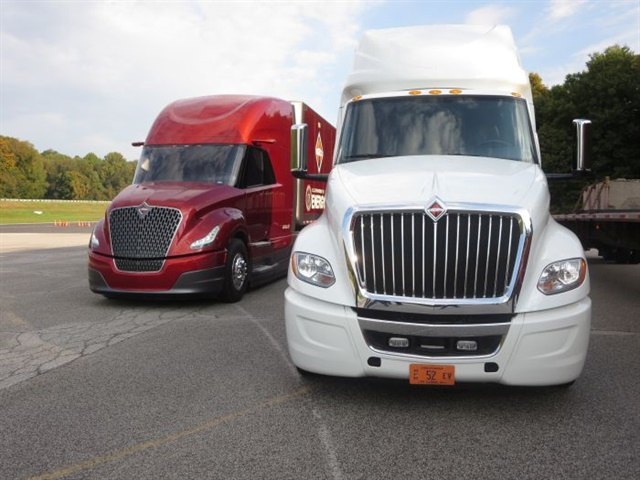 Manufacturers are taking cues from their EPA SuperTruck work to meet the new regs. Navistar's version (left) thus influenced its International LT625 tractor. Photos: Tom Berg