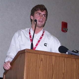 Grant Russo, who works for Cummins, talked to the group about what Scouting has meant to him.