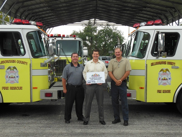 The fleet management leadership team is just one element of the City's successful fleet. Pictured (l-r) are: Ross Meslin, fleet services manager; Robert Stine Jr., director; and Ernie Hutman, operations/maintenance manager. Photo courtesy of Hillsborough County