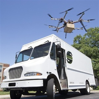 AMP Electric Vehicles' delivery-van-based drone concept may be more practical. Photo: Workhorse