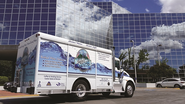 With the water graphic down the side of the truck, Idaho Springs Water's vehicle wraps depict flowing clean water. Owner Craig Bartschi wanted the image to extend onto the cab for a more uniform look on the trucks.Photo courtesy of Idaho Springs Water.