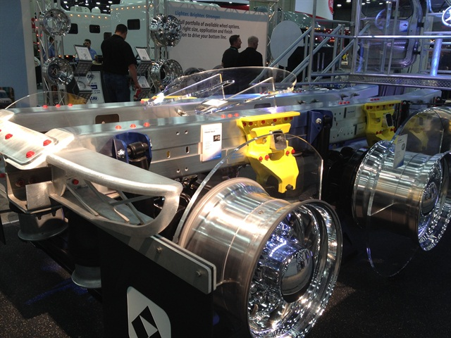 Alcoa says aluminum frame rails could lighten trucks by up to 900 pounds.