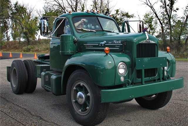 Mack's 1957 B61 can be seen at the Customer Center in Allentown, Penn.