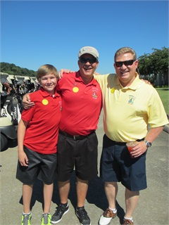 Manheim General Manager Sam Chaple, right, poses with Dan Dietsch, Mary Jo's father, and Dan's son at The 10th annual Mary Jo's Cure 4 Kids Golf Classic 2013 held in September at Gaylord Springs Golf Club in Nashville, Tenn.