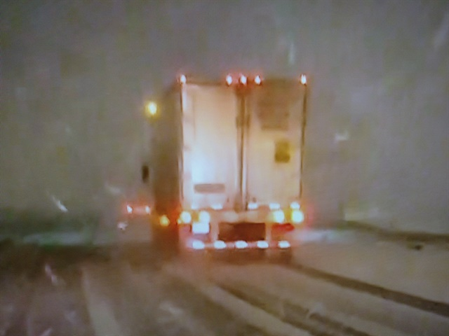 When encountering fresh snow, wise drivers sit up, take notice and slow down. Photos: Screenshots from CBS TV newscasts.