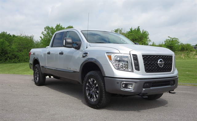 XD's maximum payload is 2,091 pounds and max tow rating is 12,314 pounds, Nissan said. This truck had 850 pounds of bagged gravel and about 600 pounds of people aboard, yet accelerated very well. Photos: Tom Berg