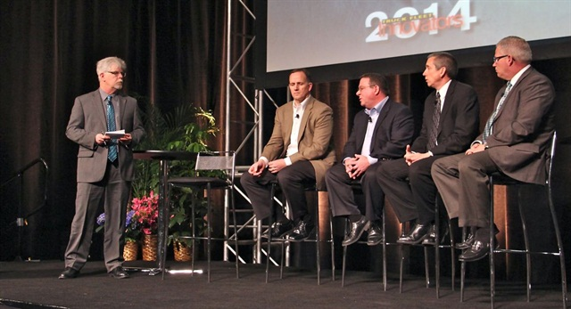 HDT Equipment Editor Jim Park, far left, hosts a panel of HDT's Truck Fleet Innovators, from left, Mike O'Connell, David Hoover, Shelby Green and Bill Bliem. Photo: Evan Lockridge