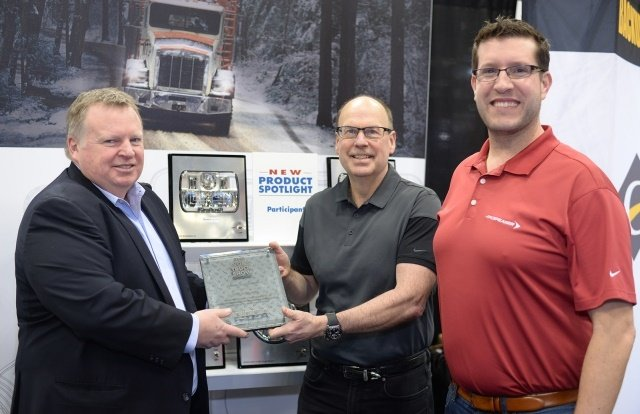 Photo of Innovation Award presented to JW Speaker courtesy of The Work Truck Show.